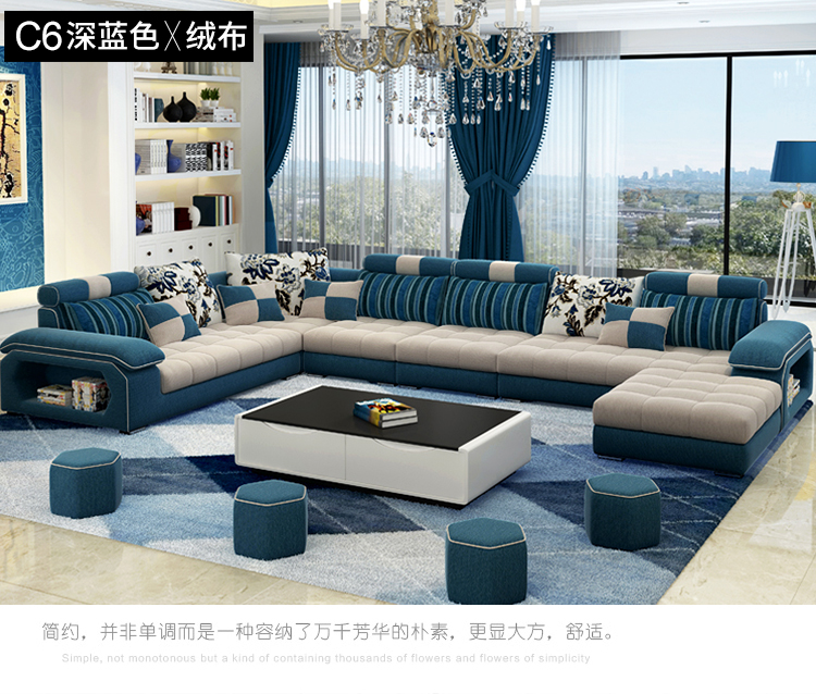 Home Furniture Sofa-Set Fabric-Sectional Velvet U-Shape Living-Room Modern Casa Hemp