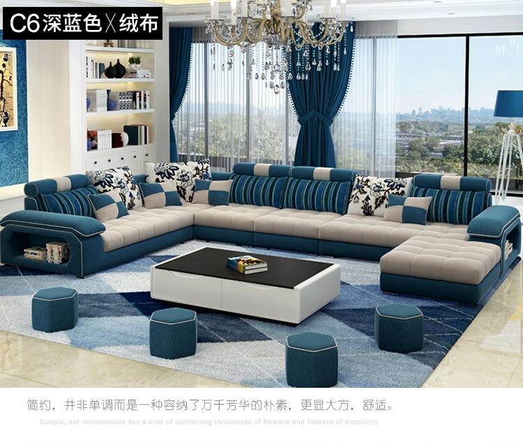 цена на Living Room Sofa set Home Furniture modern linen hemp velvet fabric sectional sofas U shape big muebles de sala moveis para casa