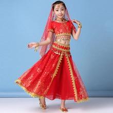 f1caf8638 2019 Sari Dance Wear Children Belly Dance Bollywood Costume Set Girls Indian  Flowers Outfit 5pcs (Top Belt Skirt Veil Headpiece)