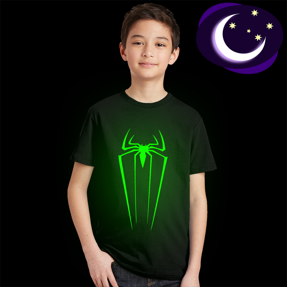 3Y-10Y Luminous Spiderman Logo Kids T Shirt Glow In Dark Spider Man Children T-shirt Fluorescent Spider-man Boy Girl Tshirt Tops женская футболка other t tshirt 2015 blusas femininas women tops 1