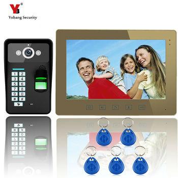 Yobang bezpieczeństwa 10 #8222 rozpoznawanie linii papilarnych wideo domofon dzwonek do drzwi hasło telefonu kontroli dostępu domofon kamera na podczerwień tanie i dobre opinie Przewodowy yobang security 110V-240v Głośnomówiący DIGITAL Złoty Brak CMOS 10 inch Jeden do jednego wideo domofon Do Montażu na ścianie