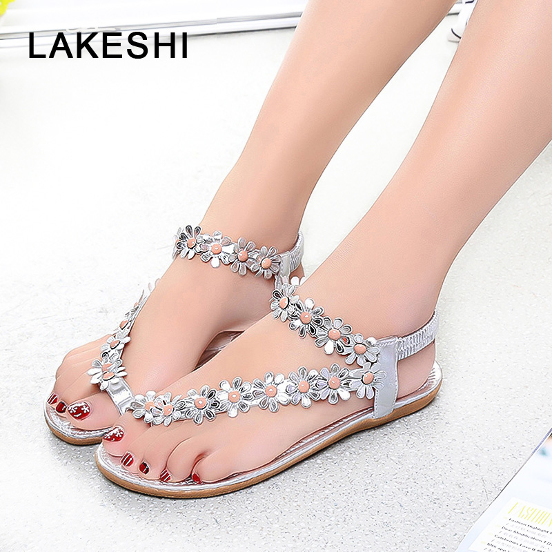LAKESHI Women Sandals Flower Shoes Woman Flip Flops Fashion Summer Flat Sandals Bohemian Ladies Sandals 2018 Casual Women Shoes girl shoes in sri lanka