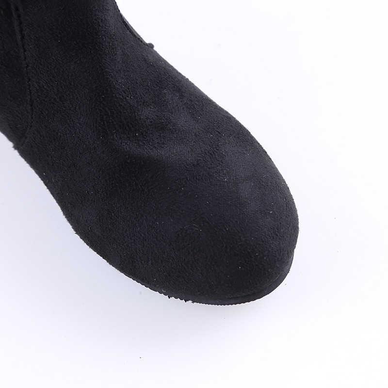 Kadın Yüksek Çizmeler Ayakkabı Kadın Süet Deri Diz Üzerinde Yüksek Çizmeler Sonbahar Kış Bota Feminina Uyluk Yüksek Çizmeler
