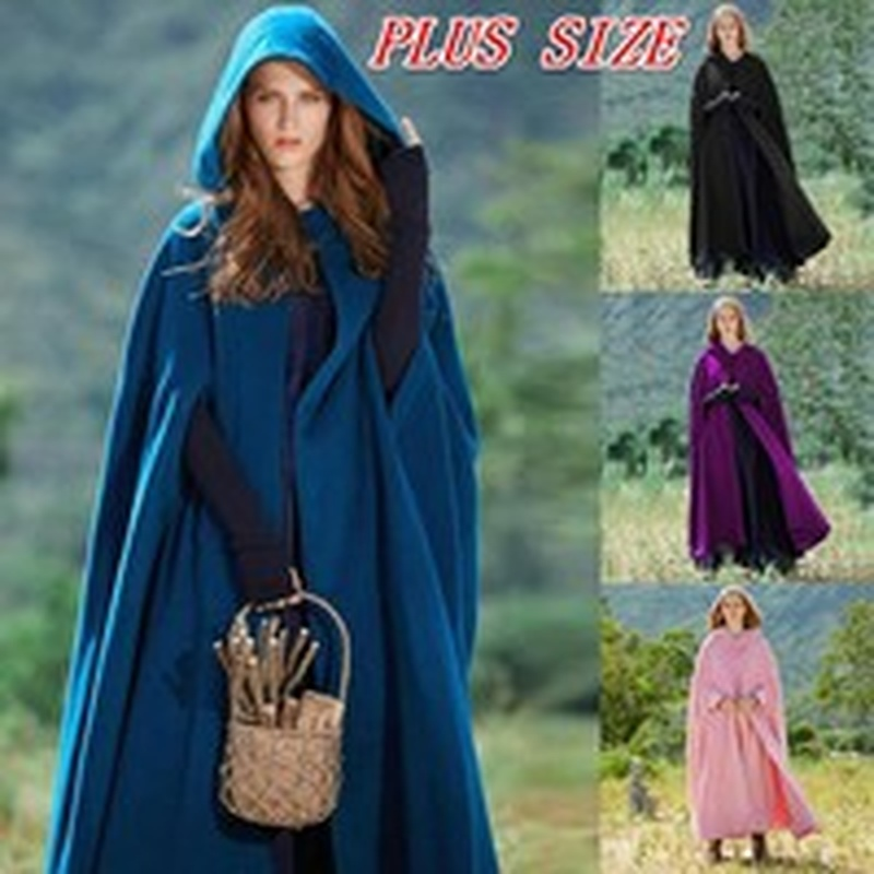 ZOGAA Women Cloak High Quality Female Ponchos Vintage Thick Hooded Floor Length Medieval Long Cape Overcoat