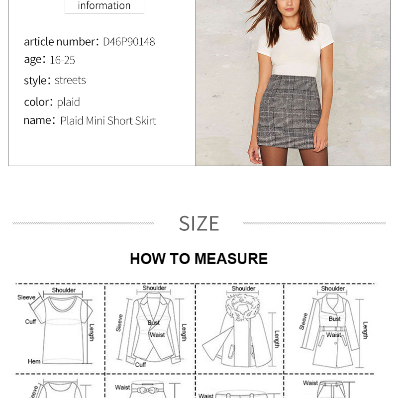 Haoduoyi Pencil Sexy High Waist Plaid Mini Short Skirt Casual Women Office Lady Buttoms Zipper Back Hot Sell The New Listing 7