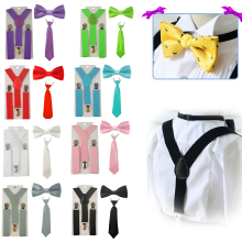 Новинка года; Модный комплект для мальчиков и девочек с регулируемой эластичной резинкой на спине; комплект с подтяжками для малышей; галстук-бабочка; Свадебный галстук; HHtr0001
