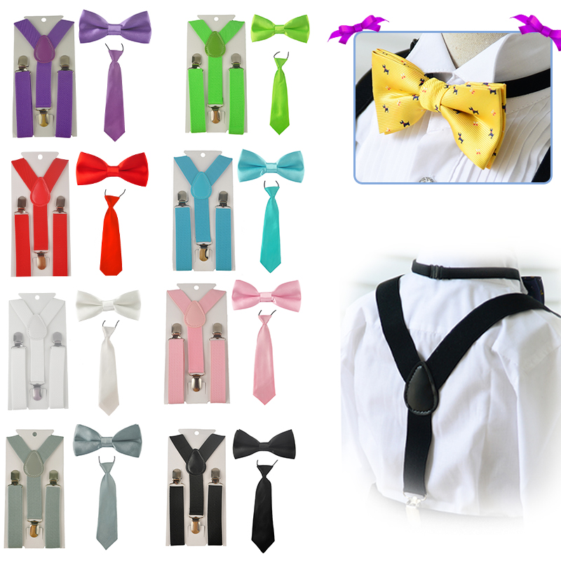 baby boy//girl Accesorries Neon Yellow toddler bow tie and  suspenders set