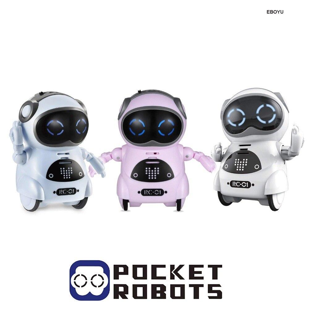 EBOYU RC-01 Mini Tasca Robot Robot per I Bambini con la Conversazione Dialogo Interattivo/di Riconoscimento Vocale/Chat Record/Canto