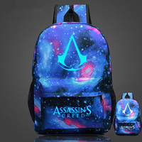 Free Shipping High Quality Lumious Assassins Creed Backpack Hot Game Boy Girl School Bags For Teenagers