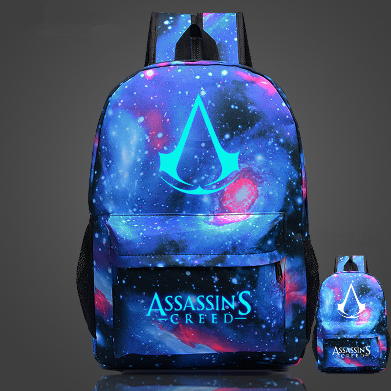 Free Shipping High Quality Lumious Assassins Creed Backpack Hot Game Boy Girl School Bags For Teenagers Oxford Backpacks assassins creed cosplay backpack men school bags official assassins creed syndicate logo school backpacks bag rucksack