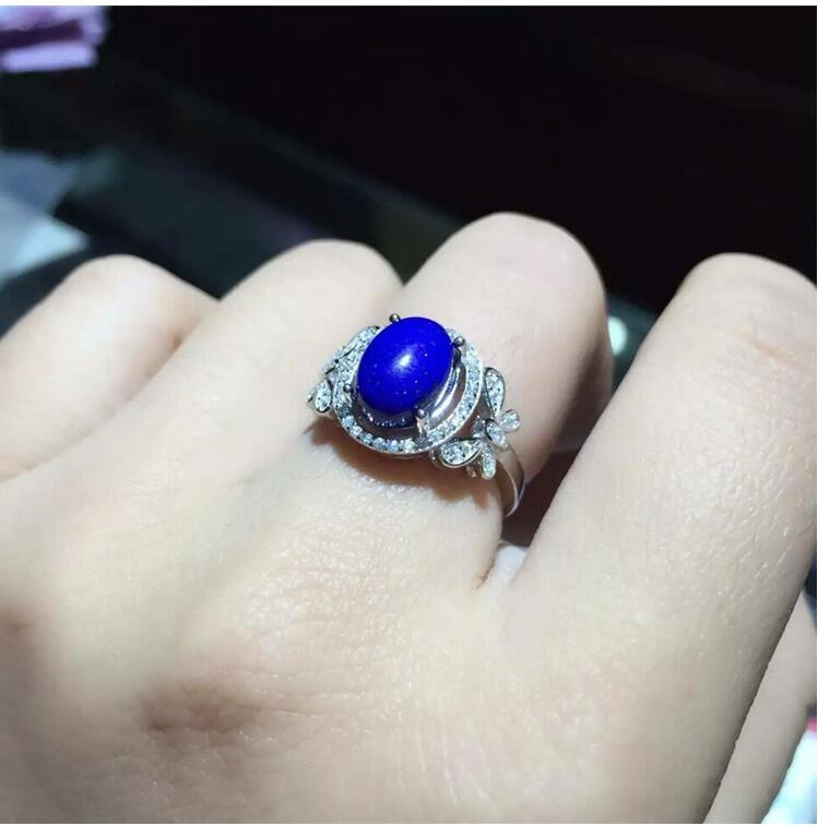 Natural Lapis ring Free shipping Natural real Lapis 925 sterling silver Ring Per jewelry 8*10mm hot sell new free shipping 925 sterling silver soldier boluomiduo theheart sutra scripture ring mens