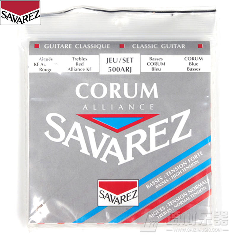 Savarez Classical Alliance Corum Standard/High Tension Set .024-.042 Classical Guitar String 500ARJ savarez 510 cantiga series new cristal alliance cantiga nt classical guitar strings full set 510mr