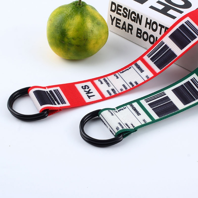 Women Canvas Belt Barcode English Korean Fashion Beautiful Double Loop Buckle Waistband 130cm Belt for women harajuku H in Men 39 s Belts from Apparel Accessories