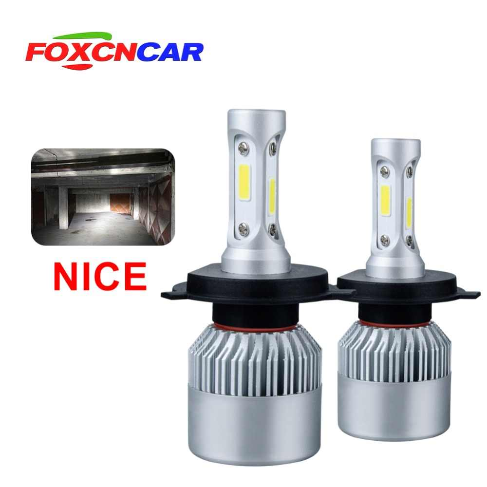 FOXCNCAR LED CAR HEADLIGHT S2 H4 LED H7 BULB 72W COB Chip 8000LM SET 1 Year Warranty Type LED H1 H3 H11 9005 9006 H27 880 H8 HB3
