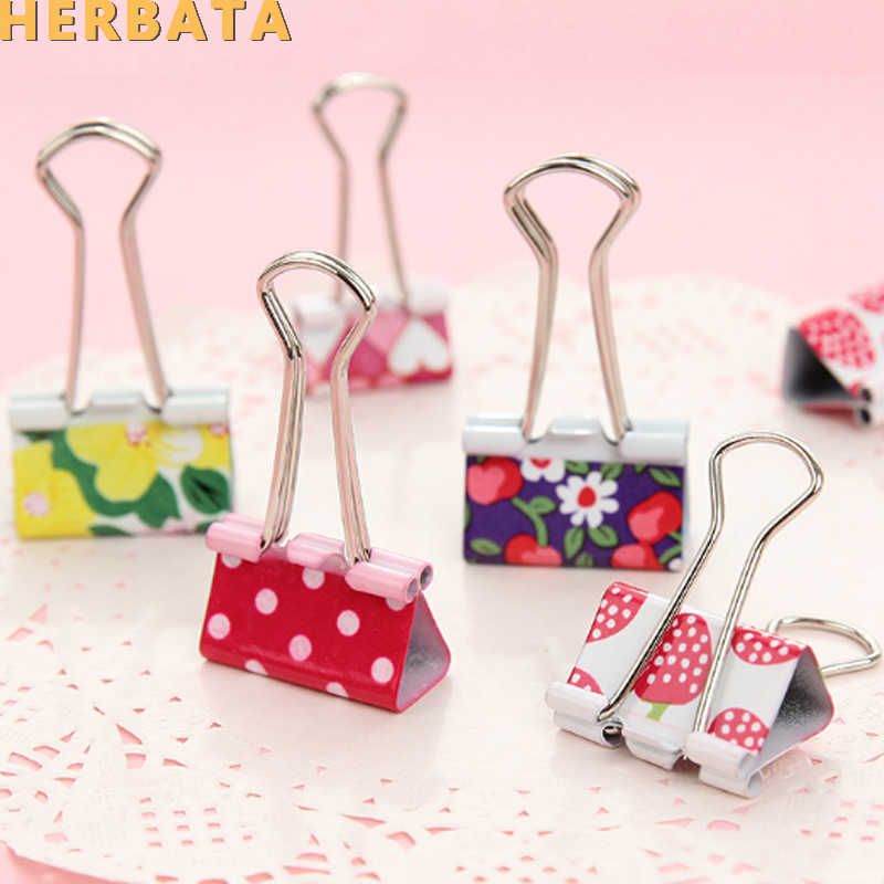 4 pcs/lot 19mm Fruit Color Smill Face Design Clips Purse Dovetail Paper Clip Metal Binder Clip School Office Binding Supplies