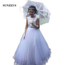 Белый Платье для девочек с цветочным узором трапециевидной формы, с круглым вырезом, вечерние платья для маленьких девочек, детские вечерние платья с бусинами на талии, кружевное платье для первого причастия с длинным SF26