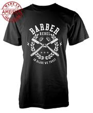 Men's T-Shirt 2019 Newest 100% Cotton Brand New T-Shirts Barber Rebel In The Blade We Trust Blade Razor Adult Printed Shirts the newest 100