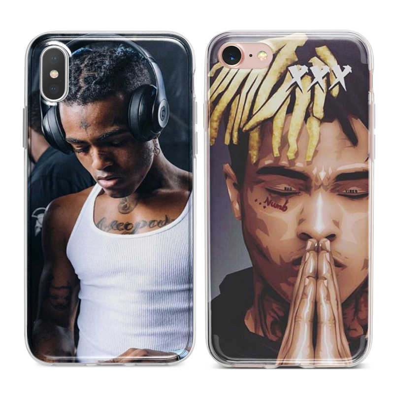 low priced b37c7 6e9dd XXXTENTACION Rapper Capa Soft TPU Silicone Phone Cover Case for iPhone XS  Max XR X 7 8 6 6S Plus 5S 5 SE 5C 4S 4 iPod Touch 6 5.