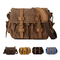 Free Shipping  Vintage Men Messenger Bags Cheap Canvas Leather Shoulder Bags High Quality Shoulder Messenger Crossbody Bag