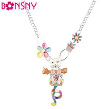 Bonsny Statement choker Enamel Flower Cat Necklace Charm Metal Alloy Chain Pendant 2016 New Jewelry For Women Collar(China)
