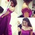 Larga púrpura vestido de fiesta 2016 apliques Sexy Off hombro tribunal tren tul vestido de noche del partido