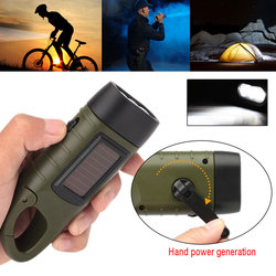 Solar Powered Flashlight Hand Crank Dynamo Rechargeable LED Light Lamp Charging Powerful Torch For Outdoor self-defense Camping