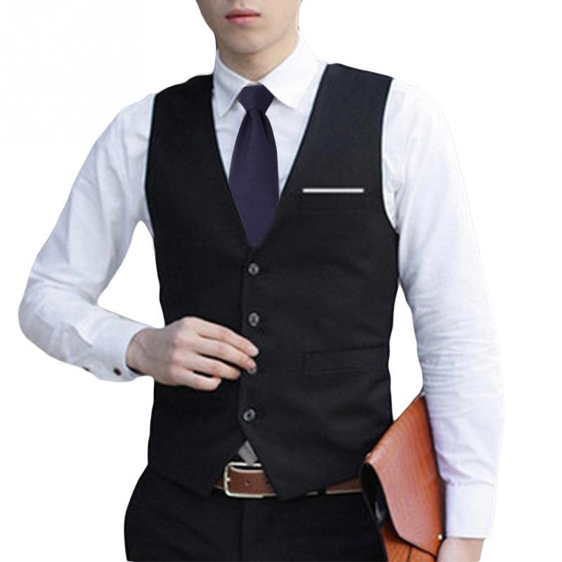 Для мужчин формальные Классический Бизнес жилет Slim Fit смокинг повседневное новый бизнес костюм с v-образным вырезом для