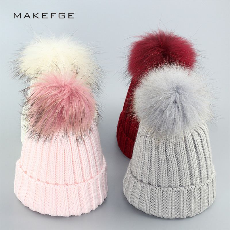 Winter Hat Women Knitted Hat Pom Poms Wool Rabbit Fur Knitted Cap  For Women Girl 's Hat Female Beanies Cap 2017 Brand New Cap crysta lamp pendant lights lounge dining room bedroom lamp lychee simple new european style warm crystal hanging lamp