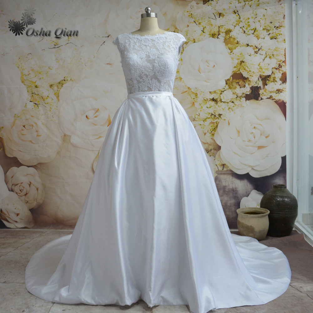 White China Bridal Gowns Lace Satin Custom Made Court Train Simple ...