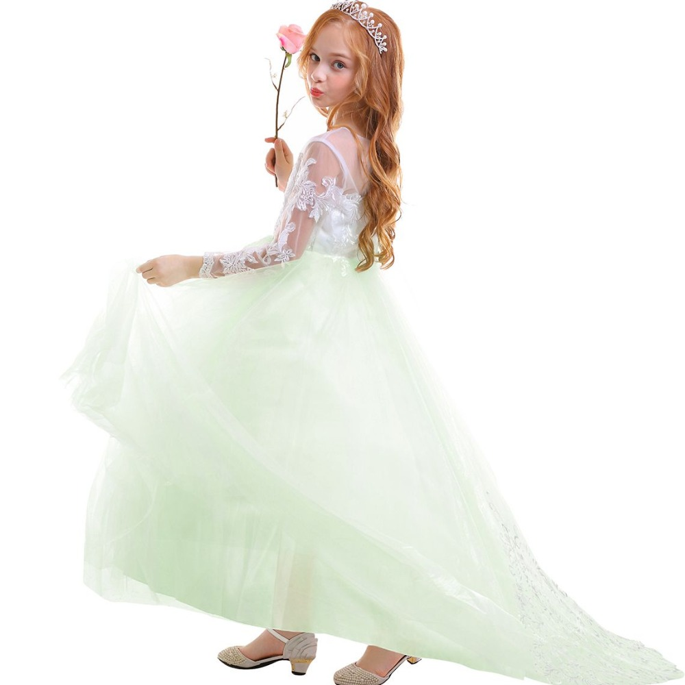 Elegant Baby Kid Girls Dress Long Sleeve Lace Tulle Trailing Long Dress for Princess  Wedding Bridesmaid Dresses for Kids Girls 7eedbfa8d9d3