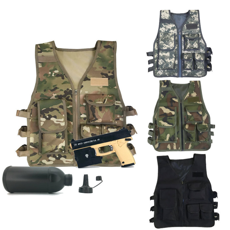 Children Tactics Vest Nylon CS Game Body Armor Vest For Kids Outdoor Camping Combat CS Competition Games Equipment Kid's Jacket