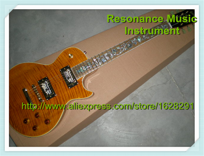 High-quality Classical Top Quality Yellow Tiger Grain LP Flower Inlay Electric Guitar Left Handed Custom Available In Stock new arrival high quality left handed white electric guitar free shipping high quality guitar custom shop
