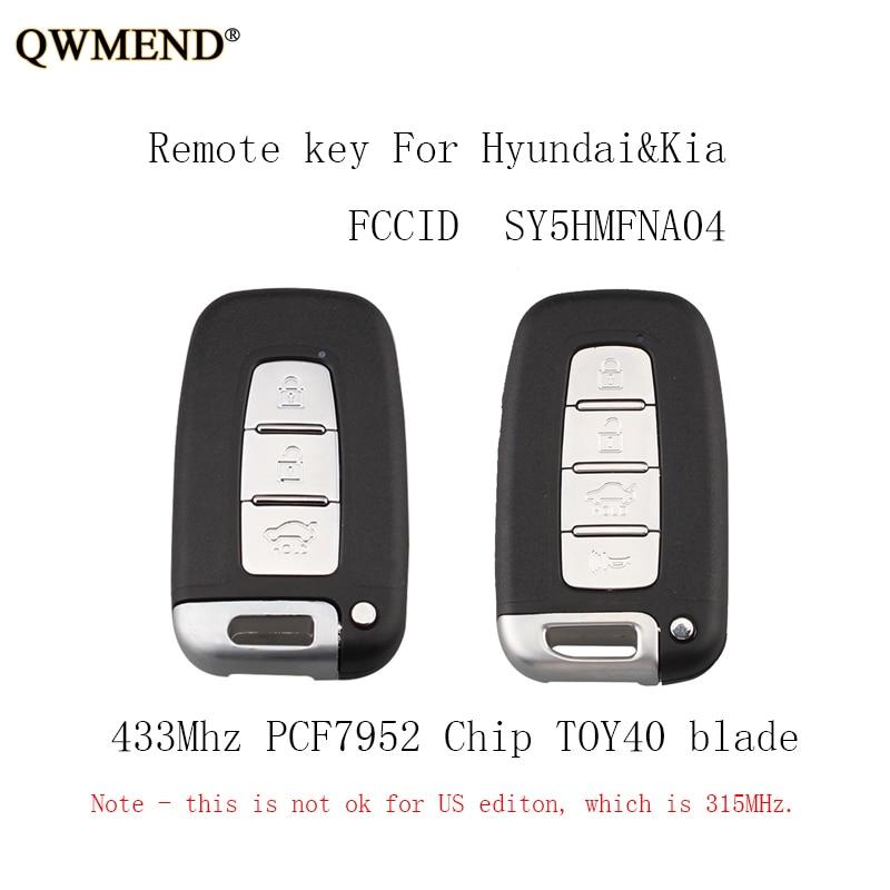 QWMEND 3 4 Buttons 433Mhz Smart Remote Key Keyless Fob For Hyundai Sonata Genesis Equus Veloster 2009-2015 PCF7952 Chip Keys