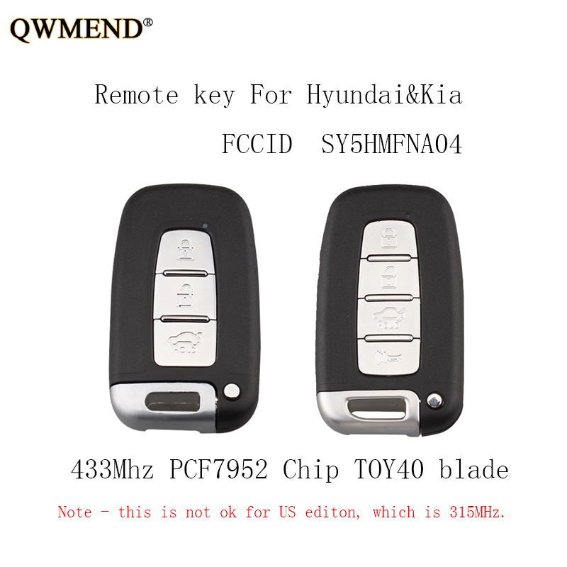 QWMEND 3 4 Botões Inteligente 433 Mhz Remoto Key Fob Keyless Para Hyundai Sonata Equus Genesis Veloster 2009-2015 PCF7952 chaves chip