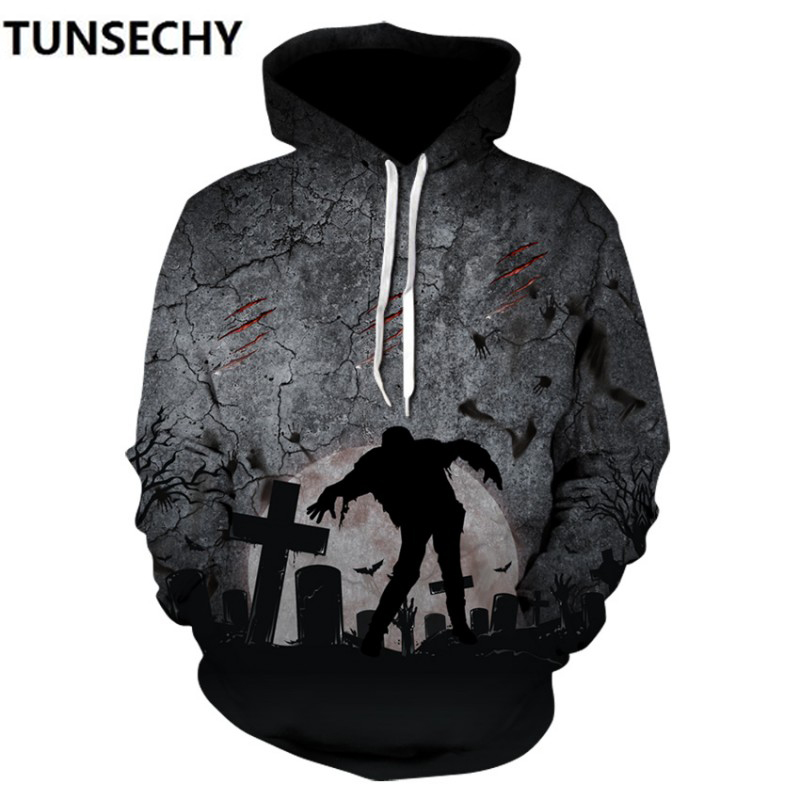 2018 Halloween autumn wear digital printing3D hat casual men's clothing wholesale and sales