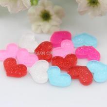 400 шт милые плоские Акриловые Мини Сердце Кабошоны Подвески Акриловые конфетти милые блестящие сердца Flatback драгоценный камень 12 мм