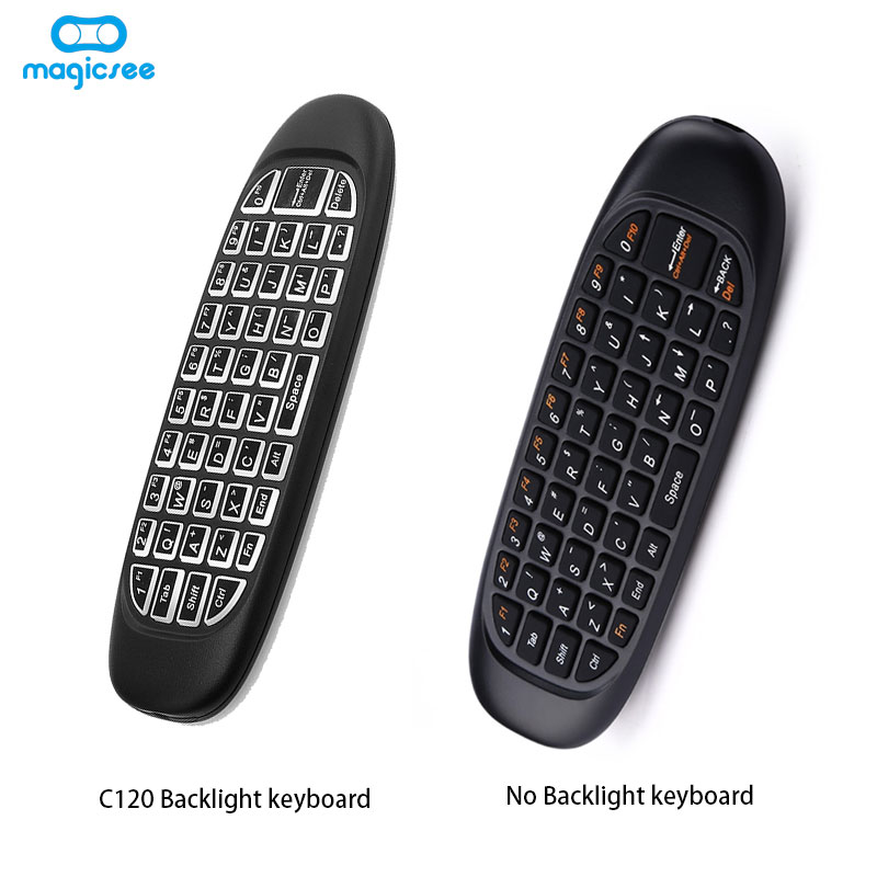 C120 Backlight Fly air mouse Wireless Game Keyboard Rechargeable 2.4GHz Universal Smart Controle Remote for Android Tv Box Pc black 2 4ghz smart controle remoto 12 keys fm4 wireless keyboard remote control air mouse for android kodi tv pc projector