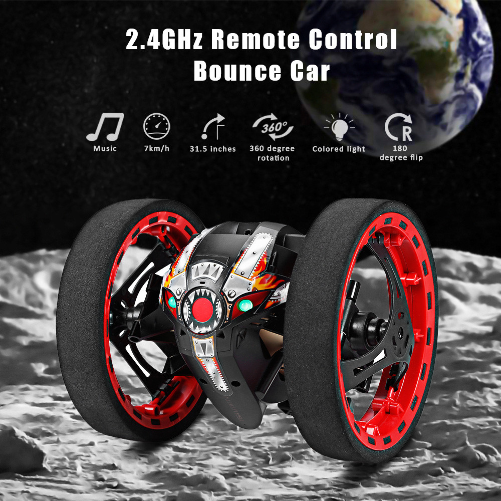 Newest Bounce Car PEG-81 2.4G Wireless Jump Remote Control Car Flexible Wheels Rotation Music LED Light Stunt Car Kids Gifts Toy