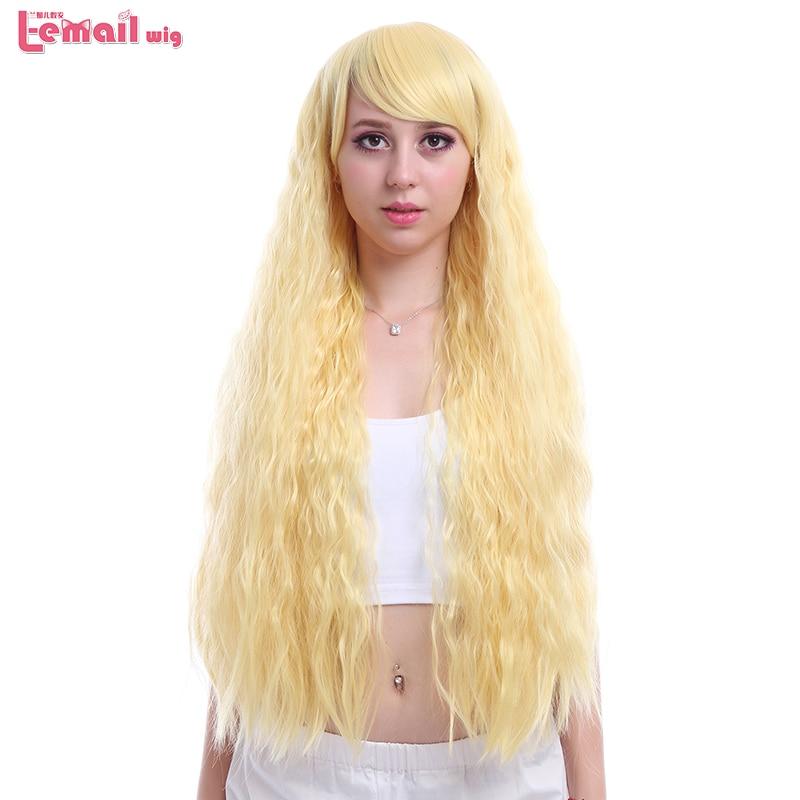 L-email парик Новый 90 см/35.4 inches Длинные Волна Воды Парики Женщин 3 Цветов Блондинка Розовый Коричневый синтетические Волосы Perucas Косплей Парик