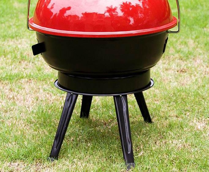 """14.5 """"BBQ Grill Outdoor Camping Barbecue Emaille Huishoudelijke Houtskool grill met Cover bakeliet handvat 4 Flodable Been Draagbare"""