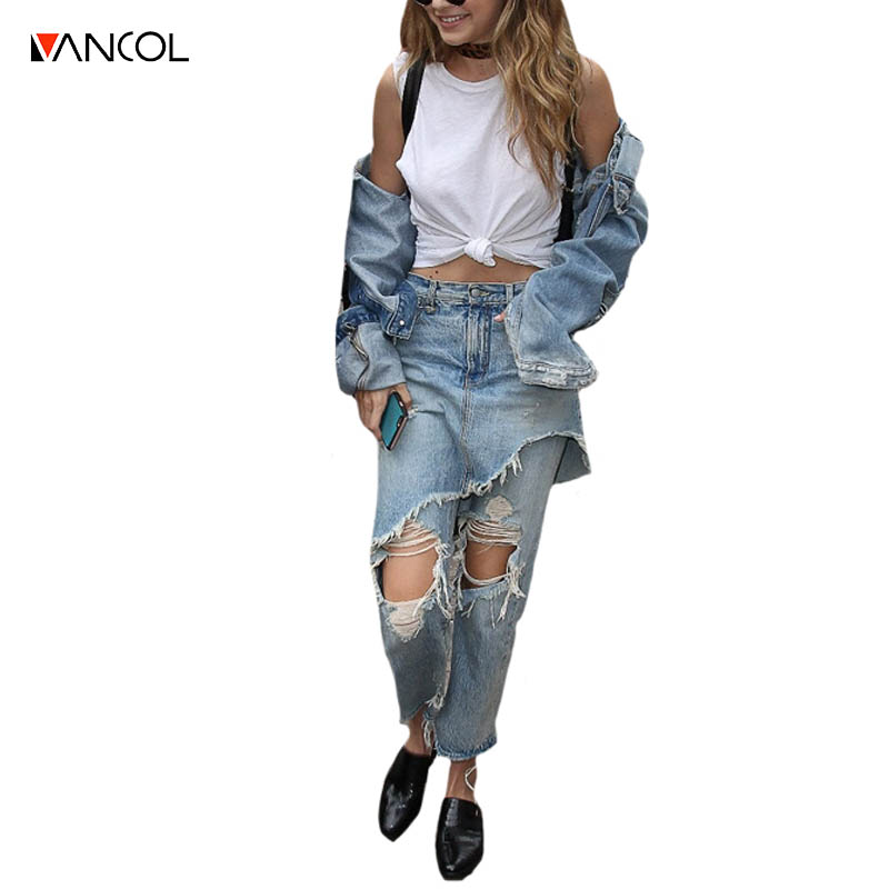 Vancol 2017 Summer Vintage hollow out ripped light blue pants streetwear jeans female capris denim irregular