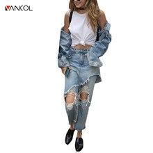 Vancol 2017 Лето Винтаж выдалбливают ripped светло-голубые брюки уличной джинсы женские капри джинсовые нерегулярные джинсы женщины