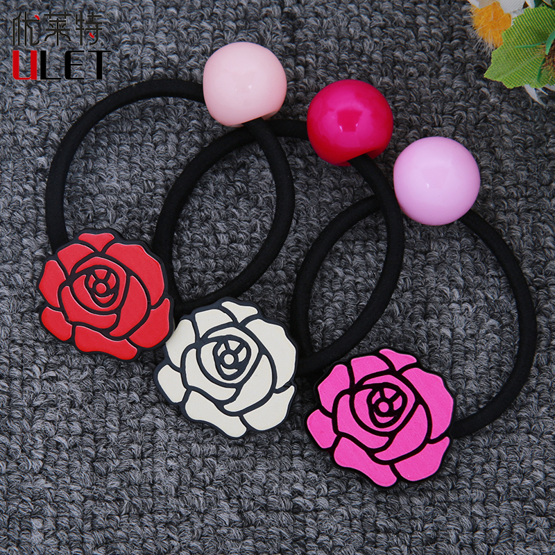 2017 New Plastic Rose Floral Child Elastic Hair Bands 3 Colors Big Beads Girls and Women Hair Accessories Black Rubber Headbands
