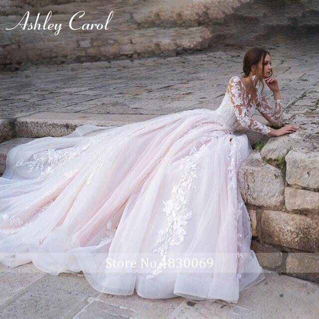 Ashley Carol Long Sleeve Princess Wedding Dress 2021 Tulle Bride Dresses Chapel Train Appliques Bridal Gowns Vestido De Noiva 3