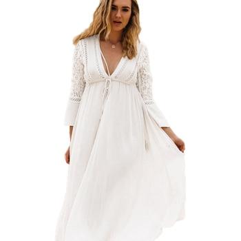 Сексуальный Плюс Размеры глубокий v-образным вырезом кружева пляжное платье в европейском и американском стиле Сарафан черный/синий/белый ...