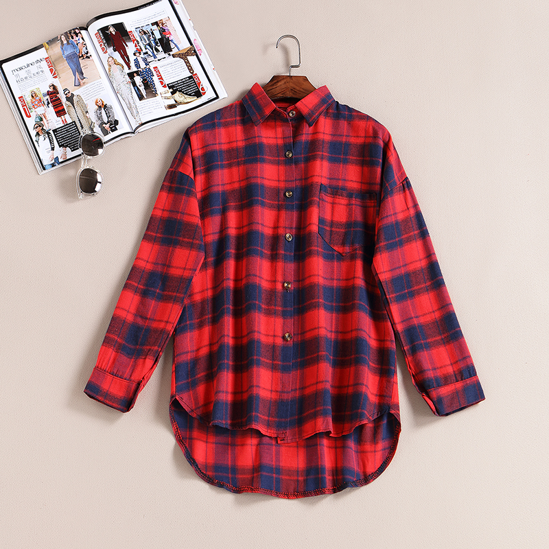 Online get cheap womens red plaid shirt Womens red tartan plaid shirt