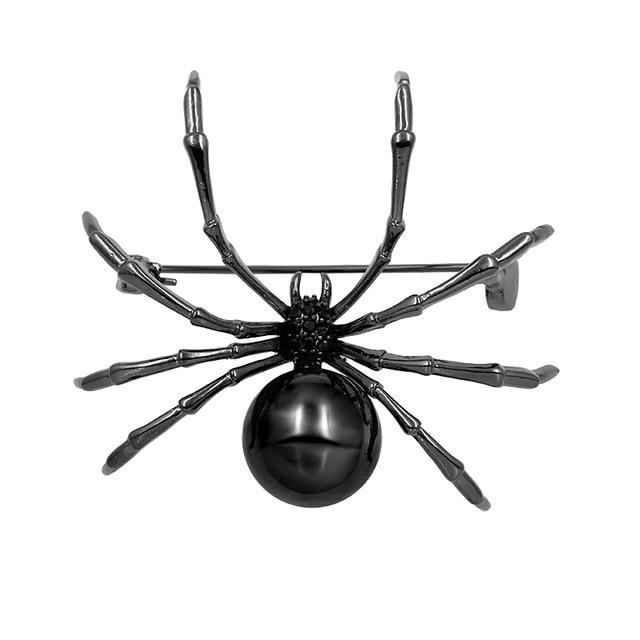 baiduqiandu Brand Gun Black Color Plated Copper Spider Brooch with Cubic Zirconi