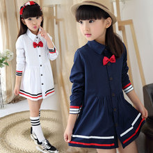 2015 Selling new children's clothing, baby decorative bow spring and autumn stripe stitching single-breasted fashion girl dress