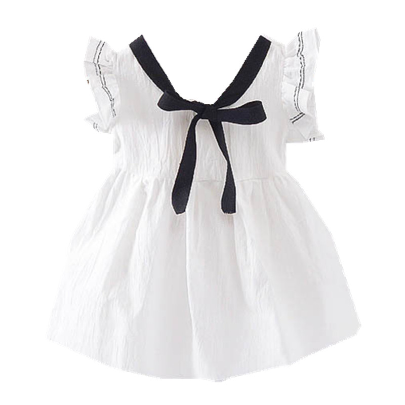 Baby Girls Dress Bow Cute Inant Baby Dress 2018 New Summer Infant Clothes Soild Cotton Kids Dresses