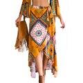 6 Colores de las Nuevas Mujeres de Bohemia Midi Faldas Impreso Beach Ropa de Playa Falda Larga Ocasional con cordones de Las Mujeres Faldas Largas Mujer